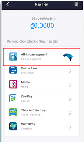 """Chọn """"All in one payment"""""""