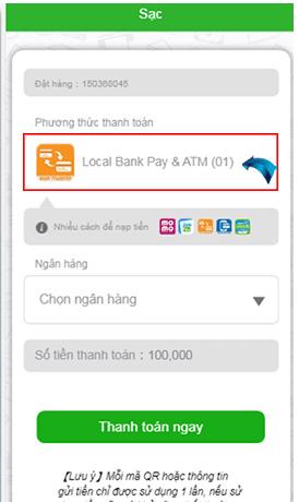"""Chọn phương thức thanh toán """"Local Bank Pay & ATM"""""""