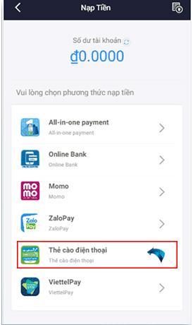 Đăng nhập vào tài khoản và chọn nạp thẻ cào điện thoại