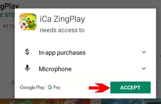 Nhấn Accept để đồng ý cho ứng dụng truy cập vào phương tiện của bạn